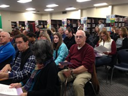 The crowd at the school board meeting Wednesday night in South Burlington - MOLLY WALSH/SEVEN DAYS