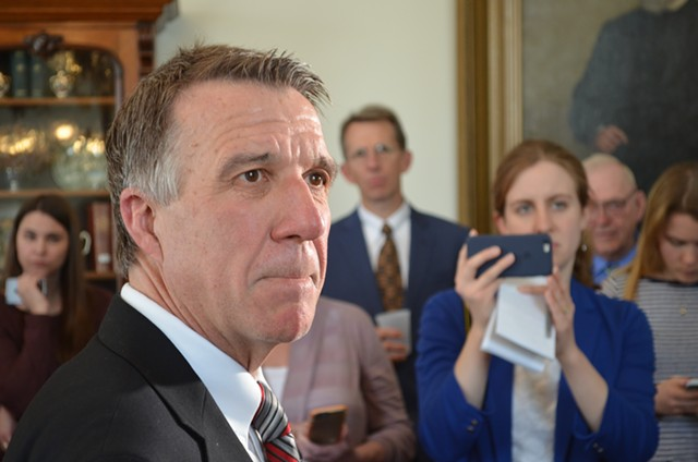 Gov. Phil Scott responds to the Senate's vote Friday afternoon. - ALICIA FREESE