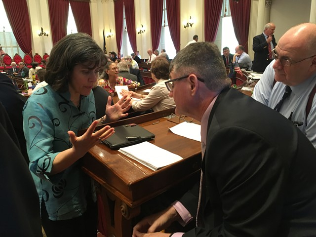 House Speaker Mitzi Johnson confers with House Minority Leader Don Turner on Wednesday over the House's schedule. - TERRI HALLENBECK