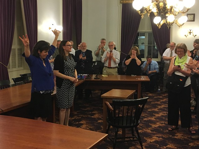 House Speaker Mitzi Johnson and Majority Leader Jill Krowinski at a House Democratic caucus meeting late Thursday at the Vermont Statehouse - TERRI HALLENBECK