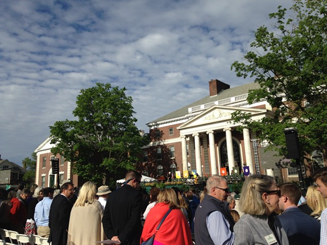 Families gather at the University of Vermont green Sunday morning for graduation. - MOLLY WALSH/SEVEN DAYS
