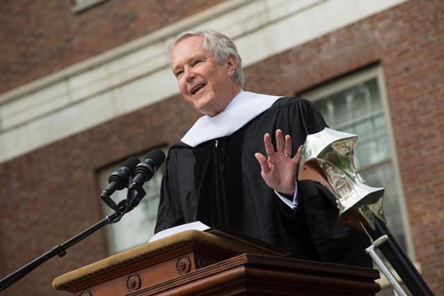 James Fallows gives the commencement address at UVM Sunday morning. - COURTESY UVM/SALLY MCCAY