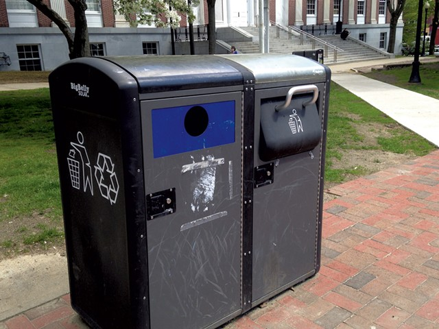 Solar-powered trash cans in City Hall Park - KEN PICARD