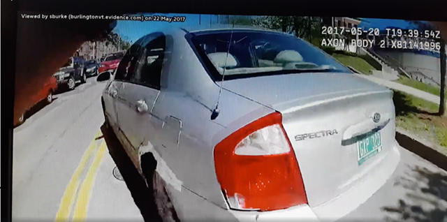 Burlington Police pursed a robbery suspect as he drove this silver car Saturday. - SCREENSHOT OF POLICE BODY CAM