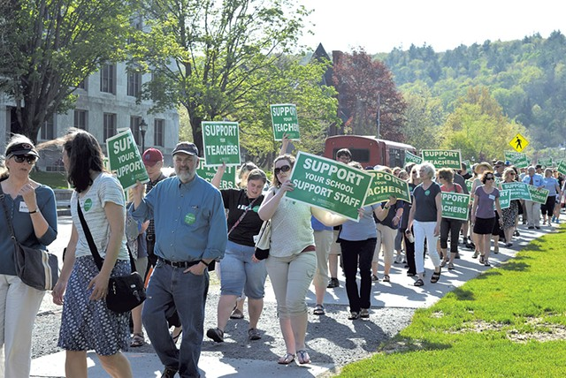Vermont-NEA supporters marching to the governor's office last Wednesday - TERRI HALLENBECK