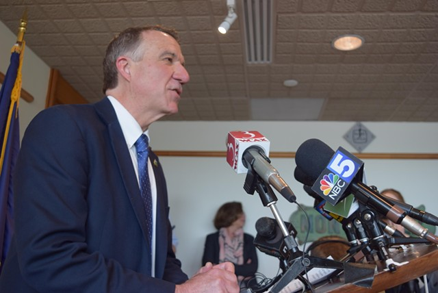 Gov. Phil Scott outlining his objections to marijuana legalization Wednesday in his Montpelier office - TERRI HALLENBECK