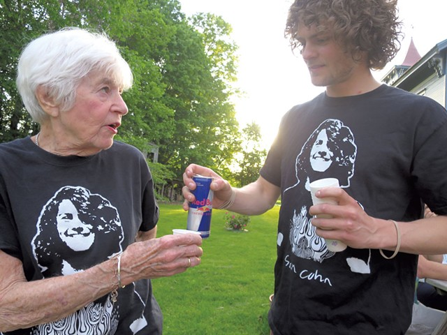 Judy Cohn and her grandson Gabe drinking a Red Bull toast - MATTHEW THORSEN