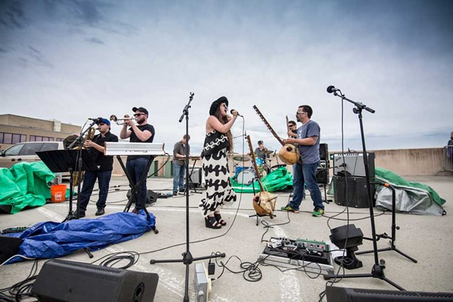 Barika with Kat Wright on the Lakeview Garage roof - COURTESY OF LUKE AWTRY PHOTOGRAPHY