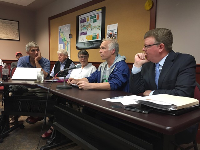 Keep BT Local chair Alan Matson, at microphone, speaks at a BTAB meeting Wednesday. - SASHA GOLDSTEIN
