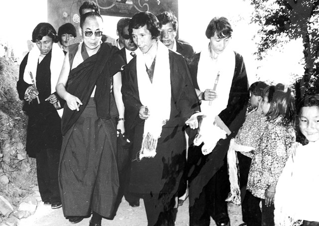The Dalai Lama (left) and Pasang Thondup (center), 1978 - COURTESY OF PASANG THONDUP