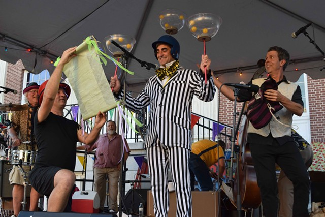 Miro Weinberger participates in the Festival of Fools, an annual affair staged by Burlington City Arts. - COURTESY OF BURLINGTON CITY ARTS