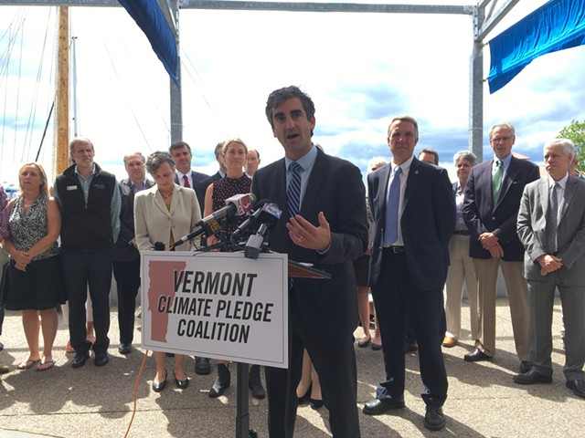 Burlington Mayor Miro Weinberger accounces a climate change coaltiion Tuesday with Gov. Phil Scott. - TERRI HALLENBECK