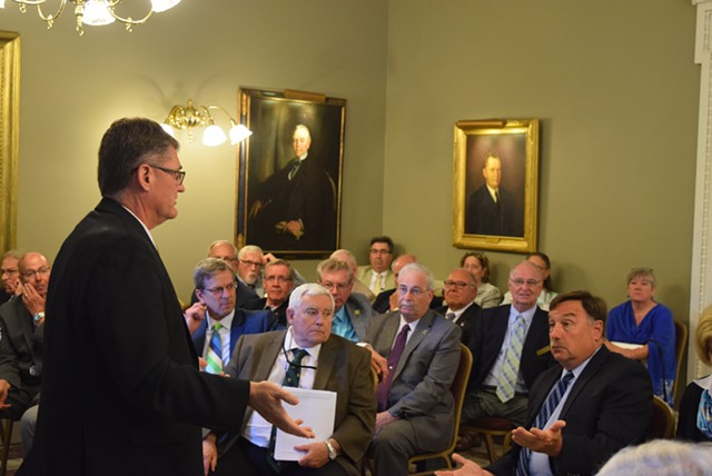 House Minority Leader Don Turner talks to his caucus Wednesday afternoon. - TERRI HALLENBECK