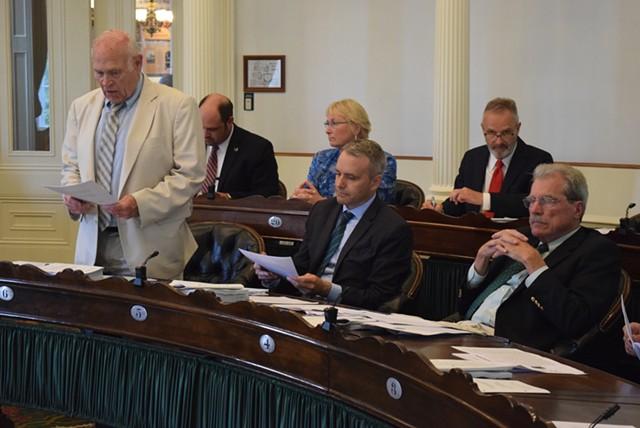 Sen. Dick Sears speaks about the marijuana bill on the Senate floor. - TERRI HALLENBECK