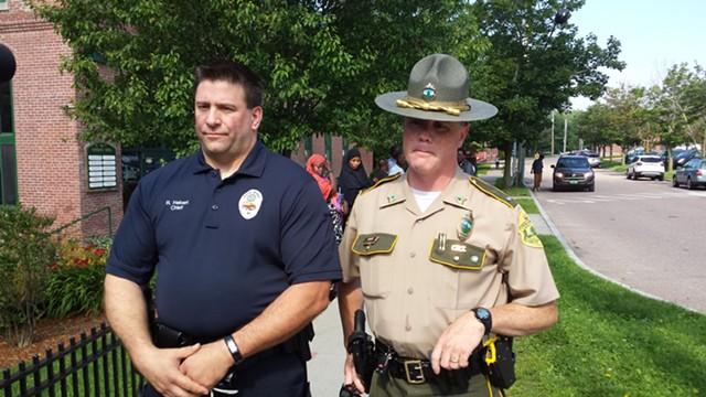Winooski police chief Rick Hebert (left) and Vermont State Police Lieutenant Garry Scott - KYMELYA SARI
