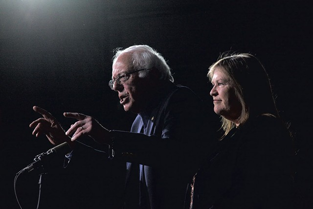 Jane O'Meara Sanders (right) and her husband - MATTHEW THORSEN
