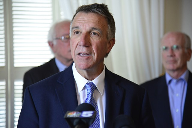 Sen. Bernie Sanders, Gov. Phil Scott and Congressman Peter Welch at a press conference Monday at the Statehouse - STEFAN HARD