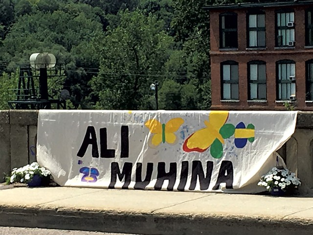 Banner on the bridge between Burlington and Winooski - MATTHEW ROY