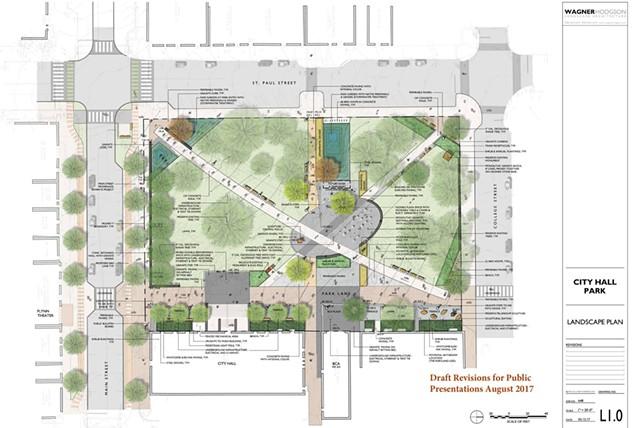 The 2017 City Hall Park design - COURTESY CITY OF BURLINGTON