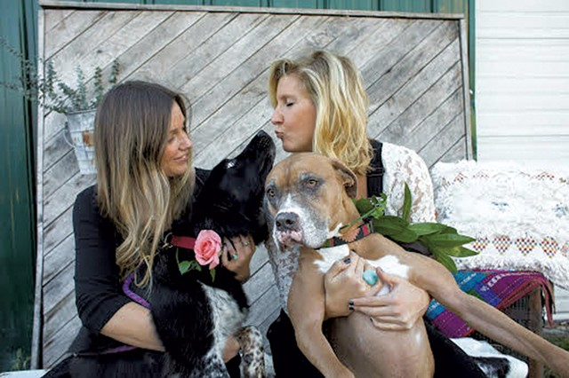 Chelsea and Katie with their dogs - ROCKET