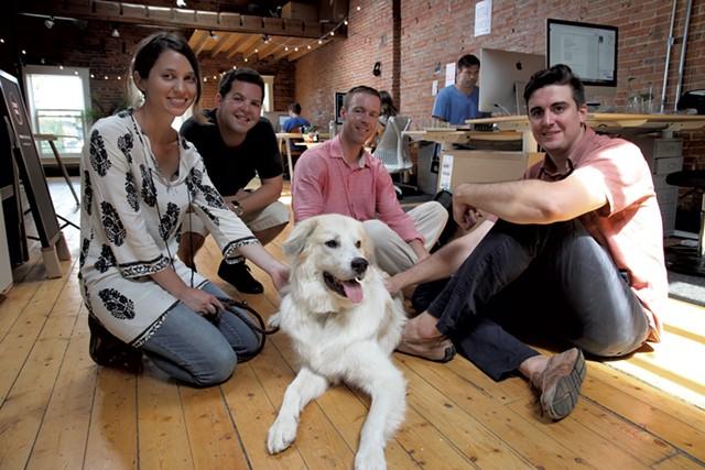 From left, Leah Fishman, Aaron Band, Guy Derry, Douglas Schatz, with Oak - MATTHEW THORSEN