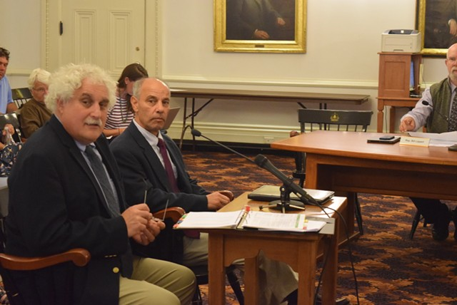 Steve Klein (left), the legislature's chief fiscal officer, and Adam Greshin, the state's finance commissioner, on Thursday - TERRI HALLENBECK
