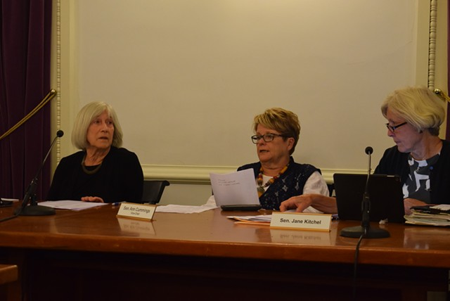 From left to right: Rep. Janet Ancel (D-Calais), Sen. Ann Cummings (D-Washington) and Sen. Jane Kitchel (D-Caledonia), members of the Joint Fiscal Committee, on Thursday - TERRI HALLENBECK