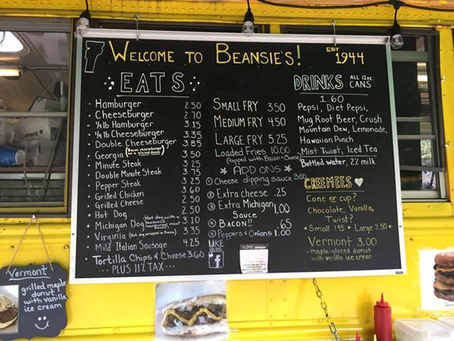 Beansie's menu - SALLY POLLAK