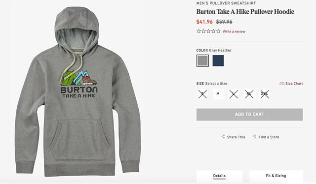 The Burton website - SCREENSHOT