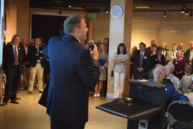 New Hampshire Gov. Chris Sununu speaks at a Republican fundraiser Thursday evening in Burlington. - TERRI HALLENBECK