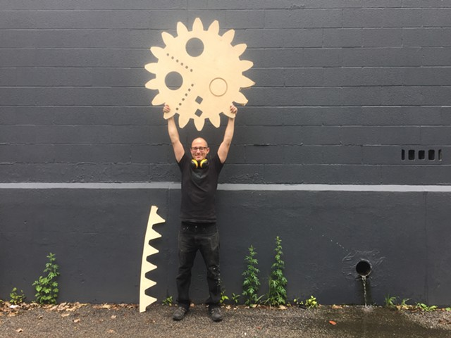 Jake Blend with his Spirograph's inner gear - RACHEL JONES