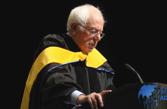 U.S. Sen. Bernie Sanders (I-Vt.) delivers his foreign policy speech at Westminster College Thursday. - YOUTUBE SCREENSHOT