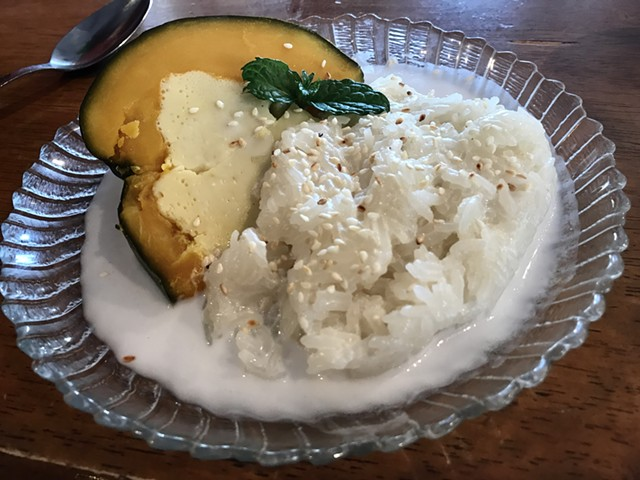 Roasted squash with sticky rice - SUZANNE PODHAIZER
