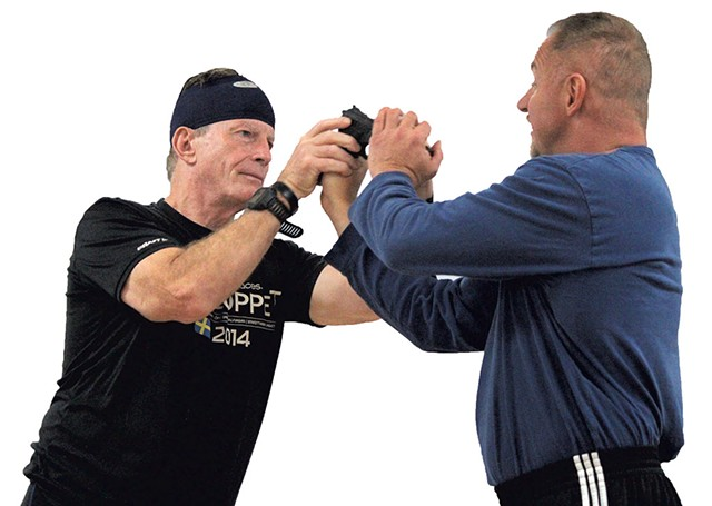 Stuart Stevens learning  Krav Maga from Ernie Roick - PAUL HEINTZ