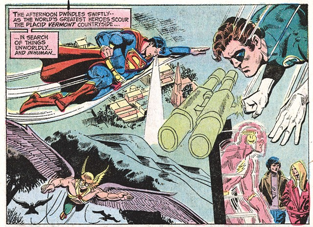 """From """"A Stranger Walks Among Us,"""" 1972 Justice League of America comic - COURTESY OF VERMONT FOLKLIFE CENTER"""