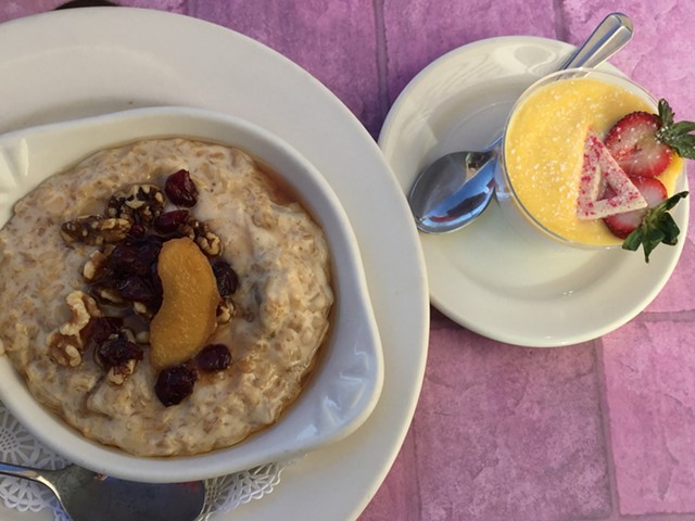 Oatmeal and panna cotta at Chef's Corner - SALLY POLLAK