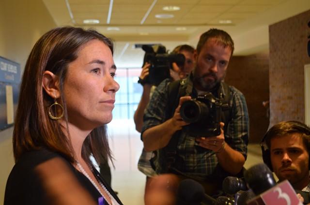 Sarah George speaks with reporters Friday. - SASHA GOLDSTEIN