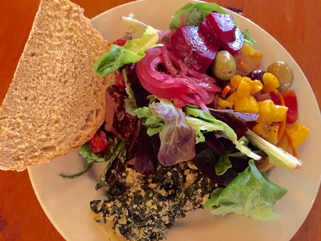 Multi-colored lunch at Stone Soup - SALLY POLLAK