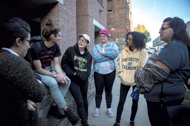 UVM students outside the courthouse after last Friday's hearing - JAMES BUCK