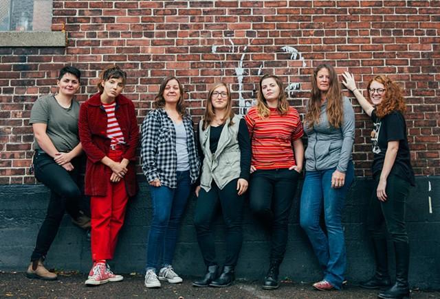 Left to right: Jenna Brower, Caroline Rose, Linda Bassick, Alyssa Solomon, Abbie Morin, Rachel Capobianco and Betsy Rose Besser - COURTESY OF KAYHL COOPER