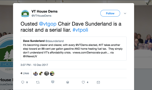 Bitter on Twitter: Vermont Democratic Party Flames GOP