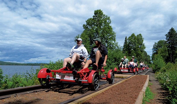 Pedaling the Rail Trail in Saranac Lake