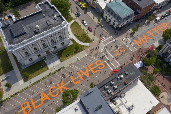 Painting 'Black Lives Matter' on Main Street, Burlington