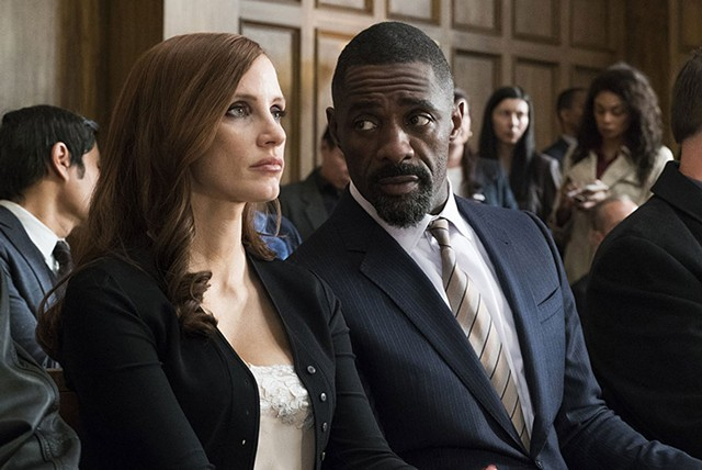 ALL IN Chastain enlists Elba to defend her character in Sorkin's ambitious but muddled directorial debut.