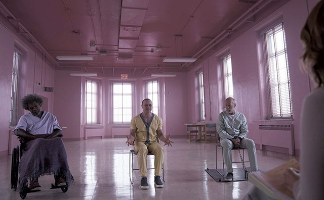 PINK PERSUASION Convincing three mental patients they don't have superpowers proves harder than expected in Shyamalan's comic-book tribute.