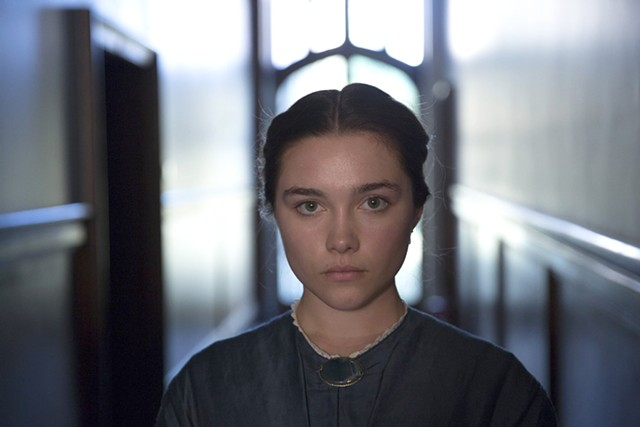 DOWNER ABBEY Pugh is incandescent as a teen bride with a sociopathic streak in Oldroyd's pitch-dark period piece.