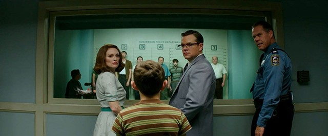 UNPLEASANTVILLE Moore and Damon play devious suburbanites in Clooney's tedious attempt at a Coen-esque black comedy.