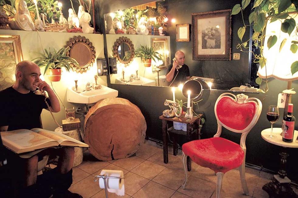Lee Anderson in the Light Club Lamp Shop bathroom - MATTHEW THORSEN