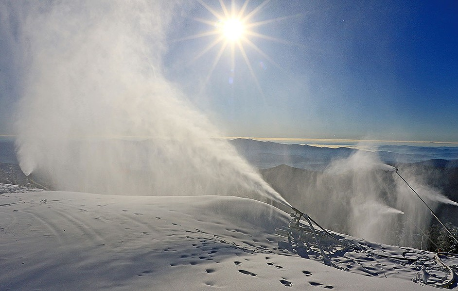 Snowmaking at Stowe last week - COURTESY OF STOWE MOUNTAIN RESORT
