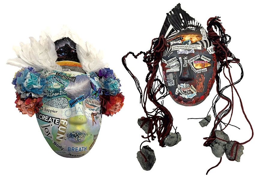 Recovery mask (left) and addiction mask (right) by Sara Glasgow - CATHY RESMER